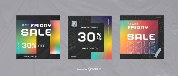 Black Friday Gradient Square Template Set