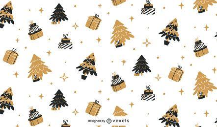 Diseño de patrón de Navidad negro y dorado