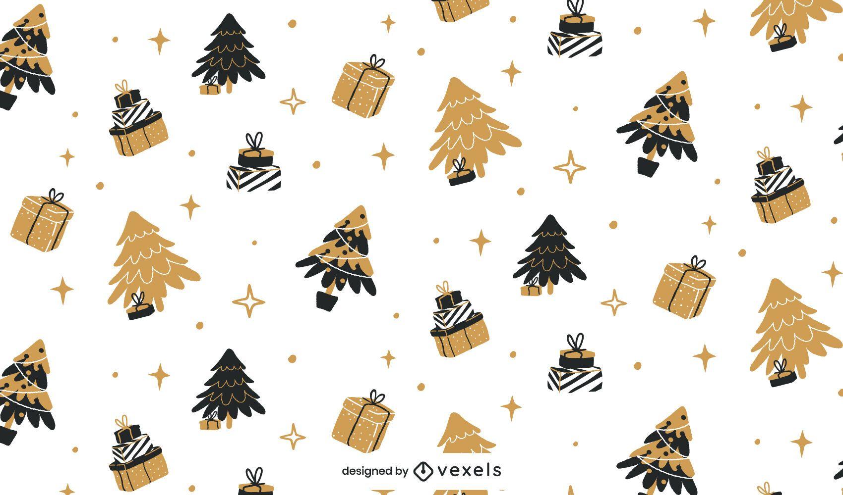 Dise?o de patr?n de Navidad negro y dorado