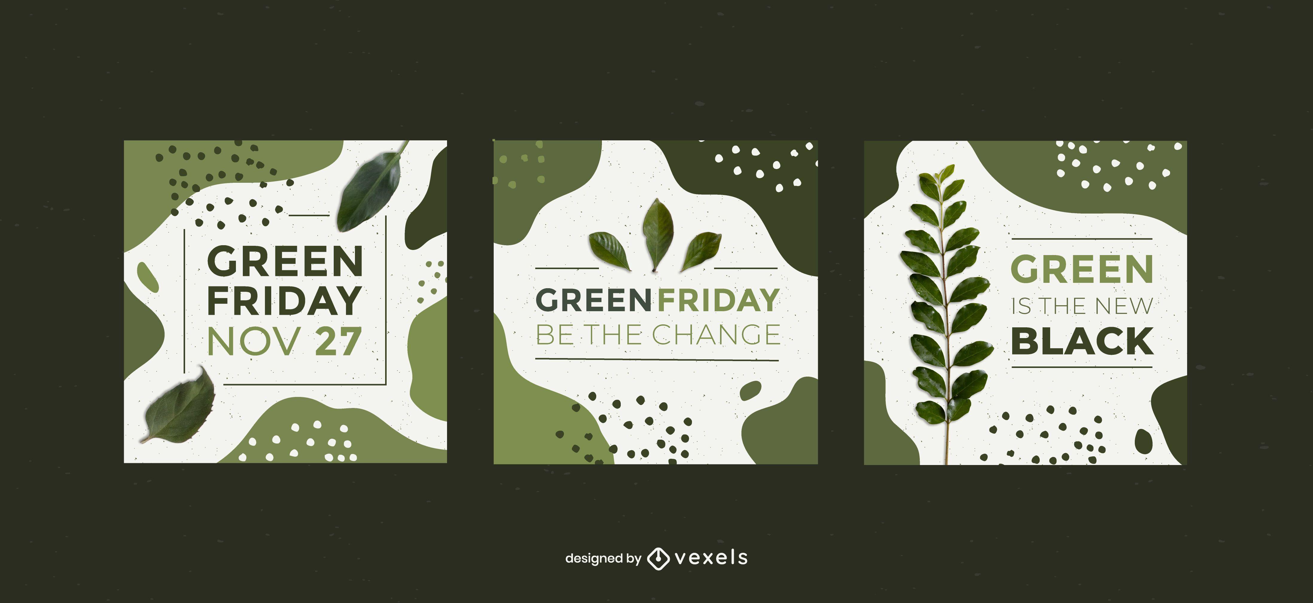 Paquete de pancartas cuadradas de viernes verde