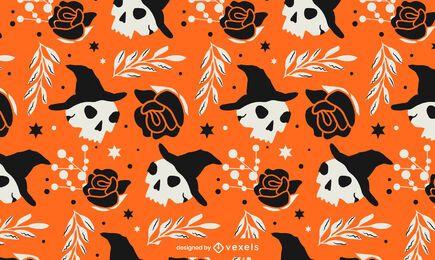 Desenho de padrão de caveiras de Halloween