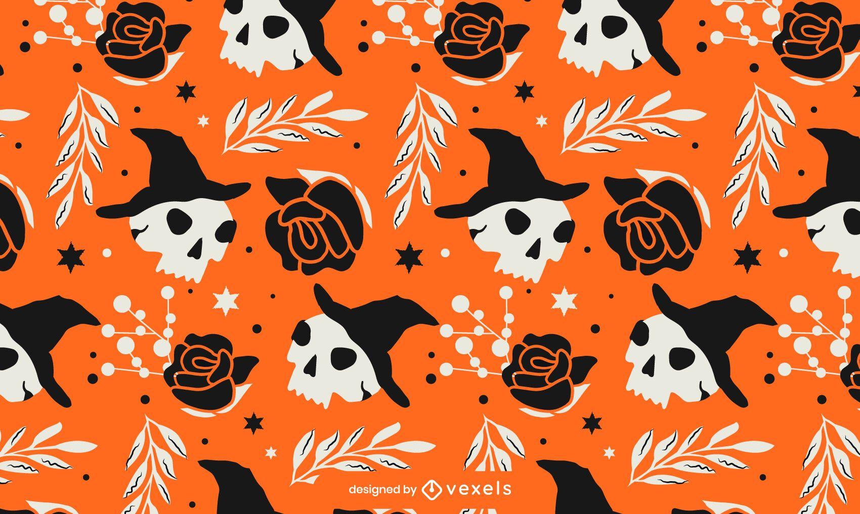 Diseño de patrón de calaveras de Halloween