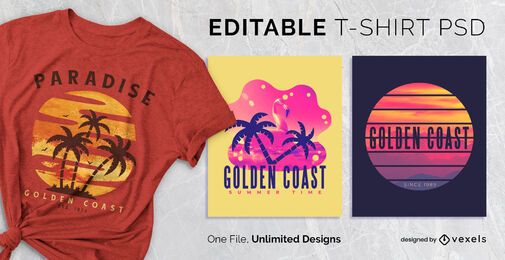 Sunset scalable t-shirt psd