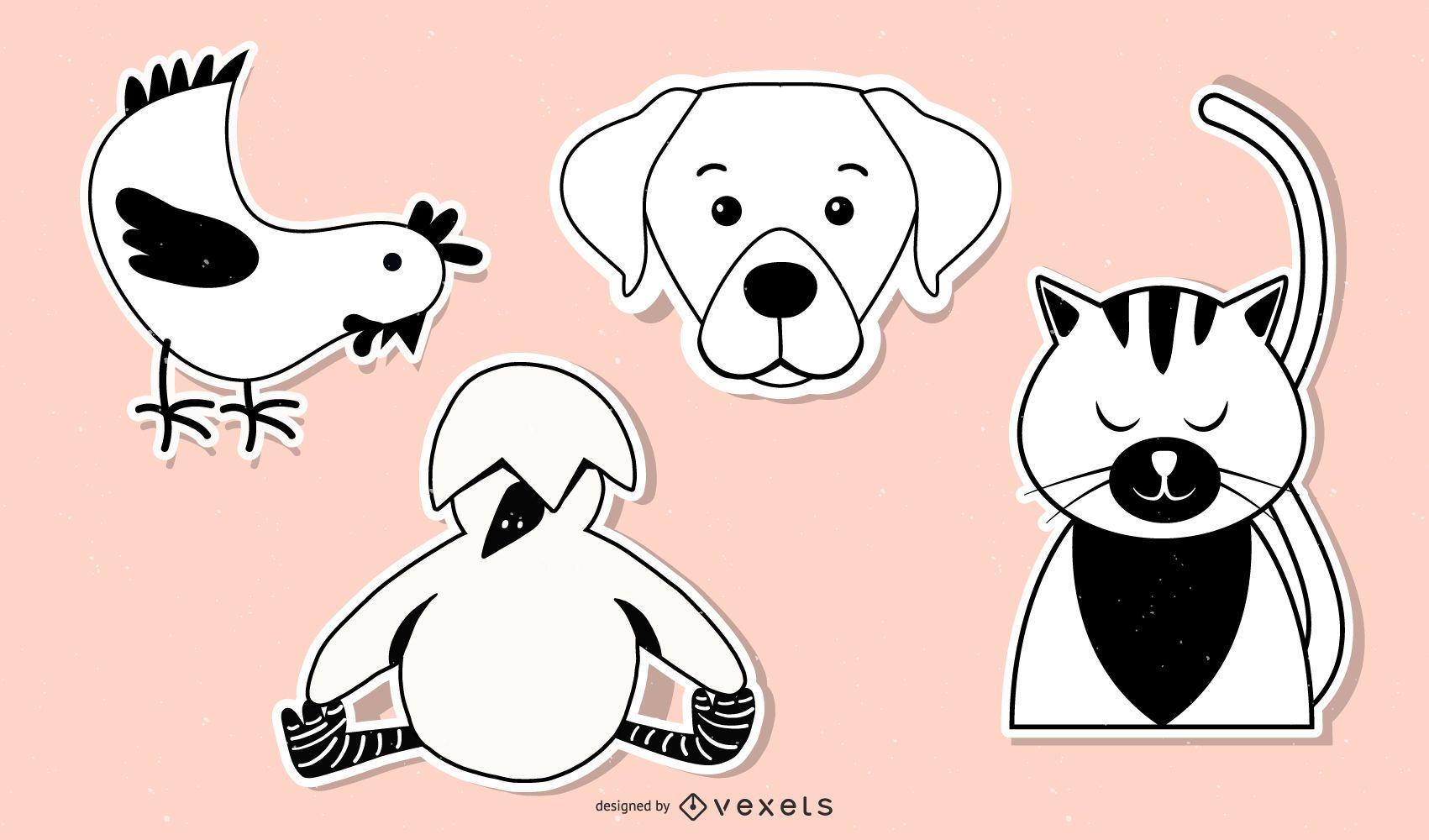 Iconos de personajes de arte de etiqueta engomada