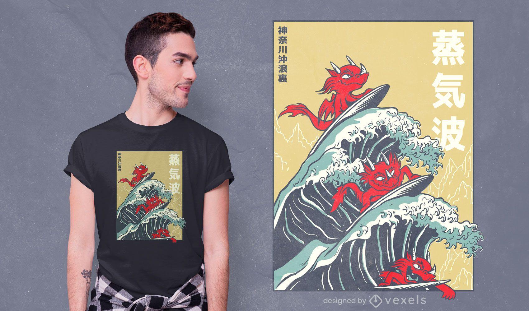 Dragões surfando design de camisetas vaporwave