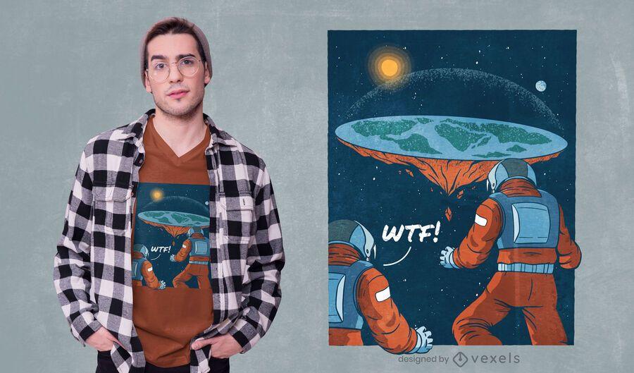 Diseño de camiseta de astronautas de tierra plana.