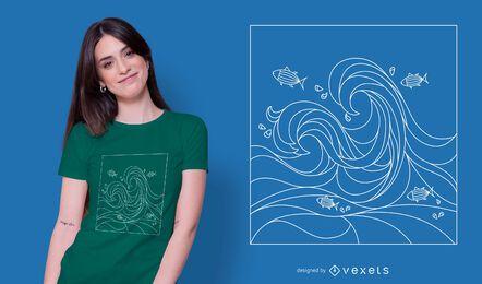 Diseño de camiseta de océano geométrico