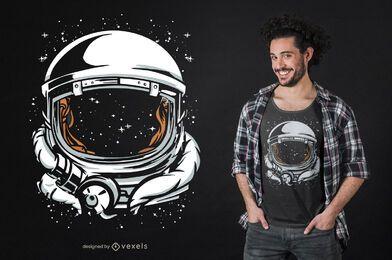 Diseño de camiseta espacial de casco de astronauta.