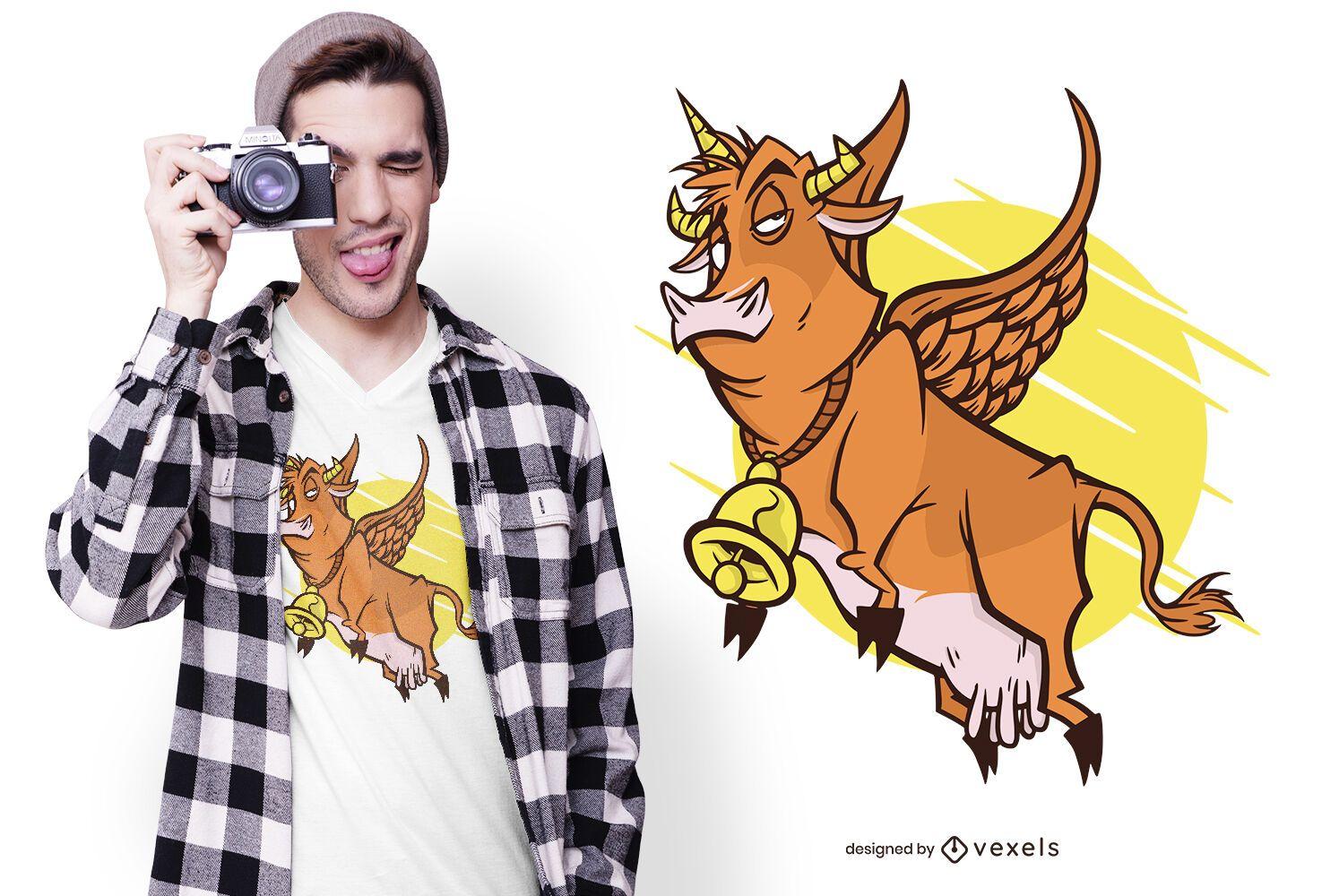 Diseño de camiseta de unicornio vaca pegaso