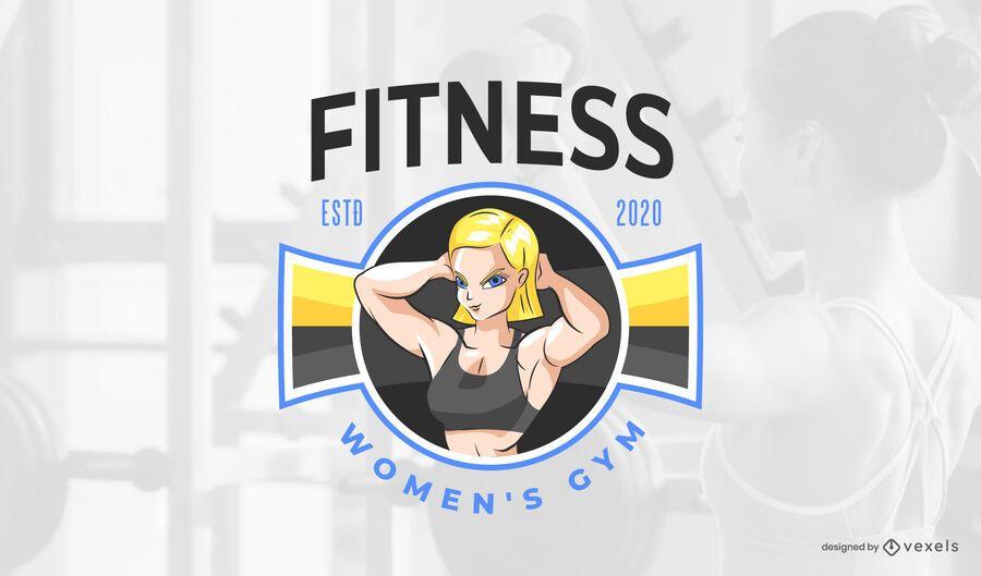 Diseño de logotipo de mujer fitness