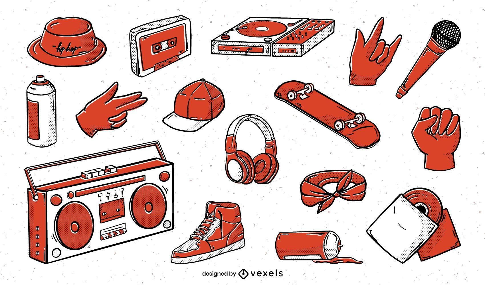 Pacote de elementos ilustrados de hip hop