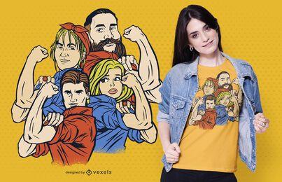 Design de camisetas familiares capacitadas