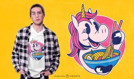 Diseño de camiseta unicornio ramen