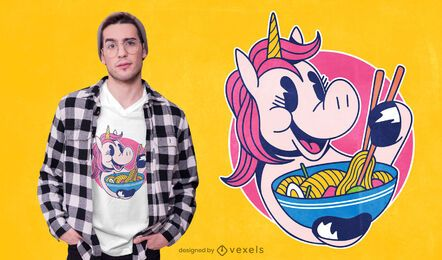 Unicorn ramen t-shirt design