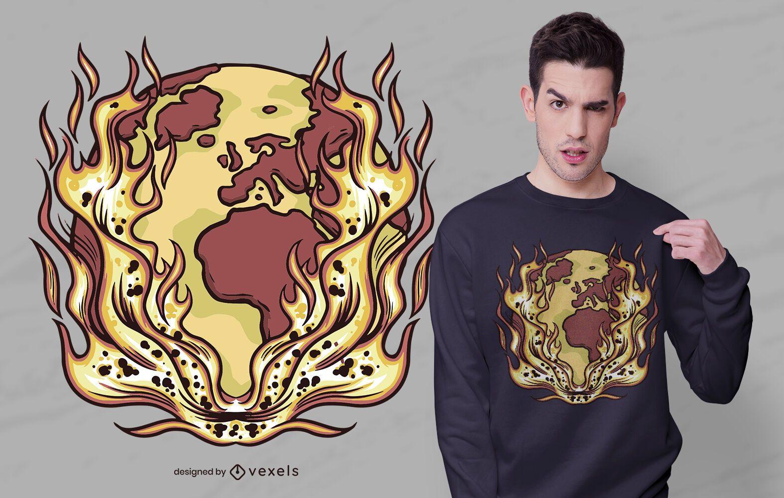 Earth fire t-shirt design