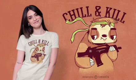 Diseño de camiseta Chill & Kill Sloth