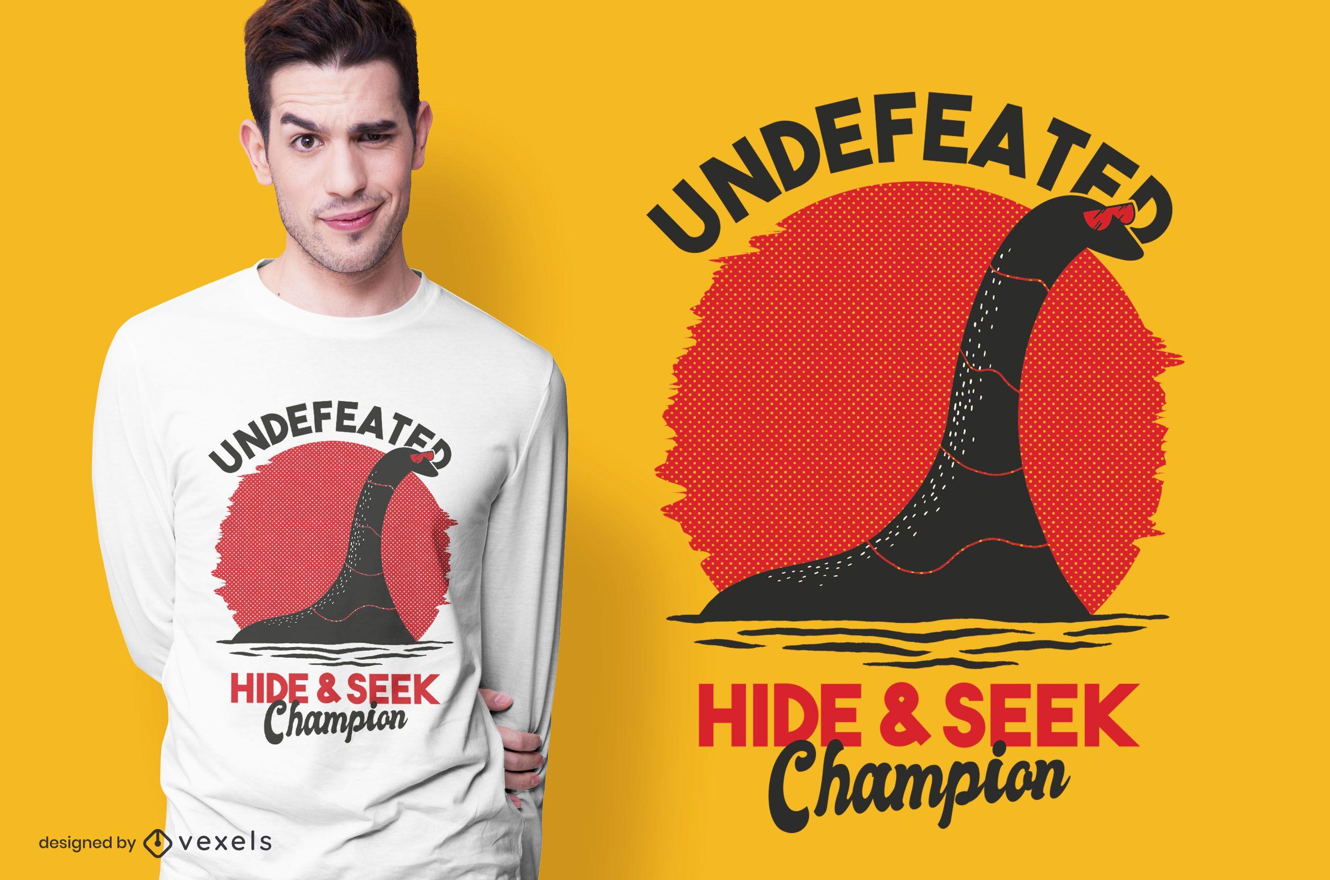 Hide & seek nessie t-shirt design