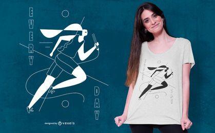Diseño de camiseta de corredor diario.