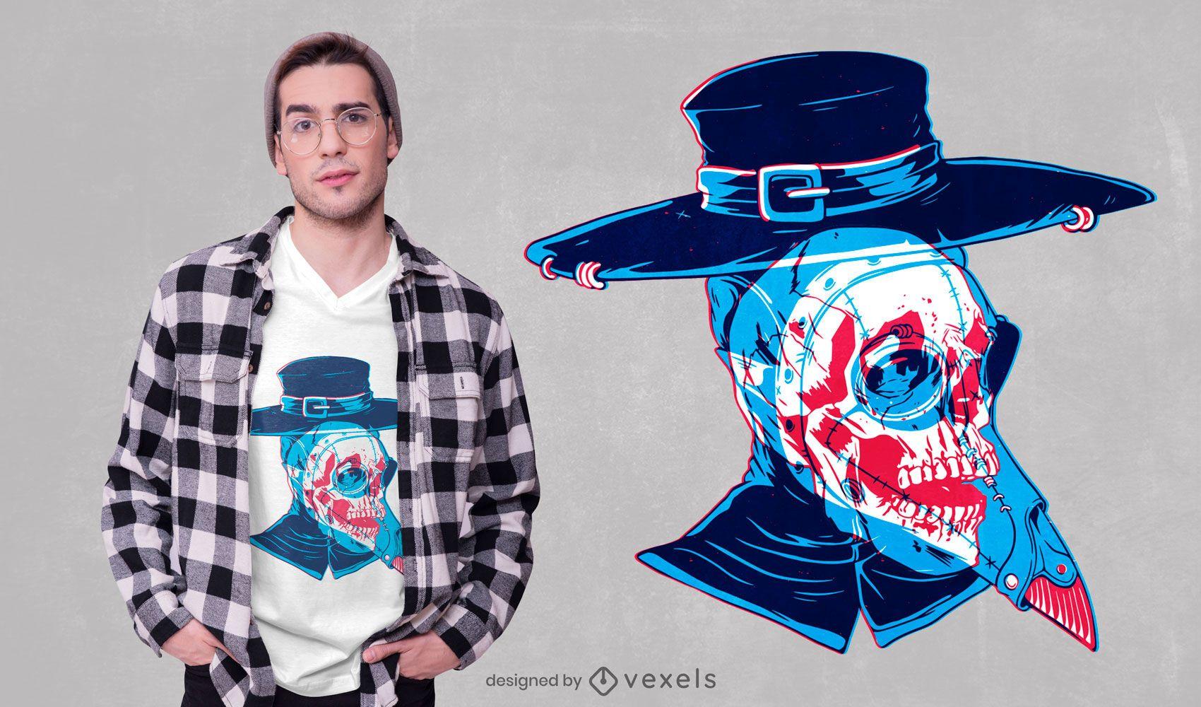 Diseño de camiseta plague doctor skull
