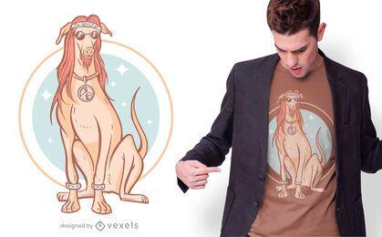 Diseño de camiseta de perro hippie