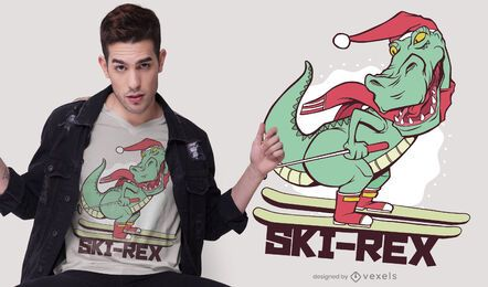 Ski T-Rex T-Shirt Design