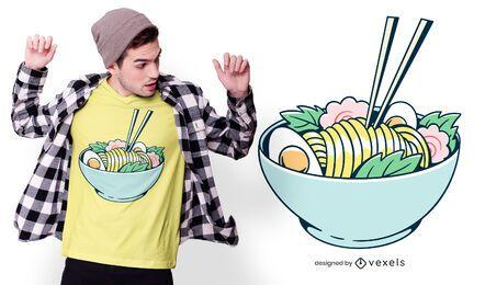 Diseño de camiseta de fideos ramen