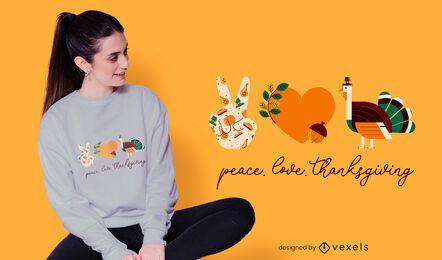 Diseño de camiseta de acción de gracias de amor de paz.