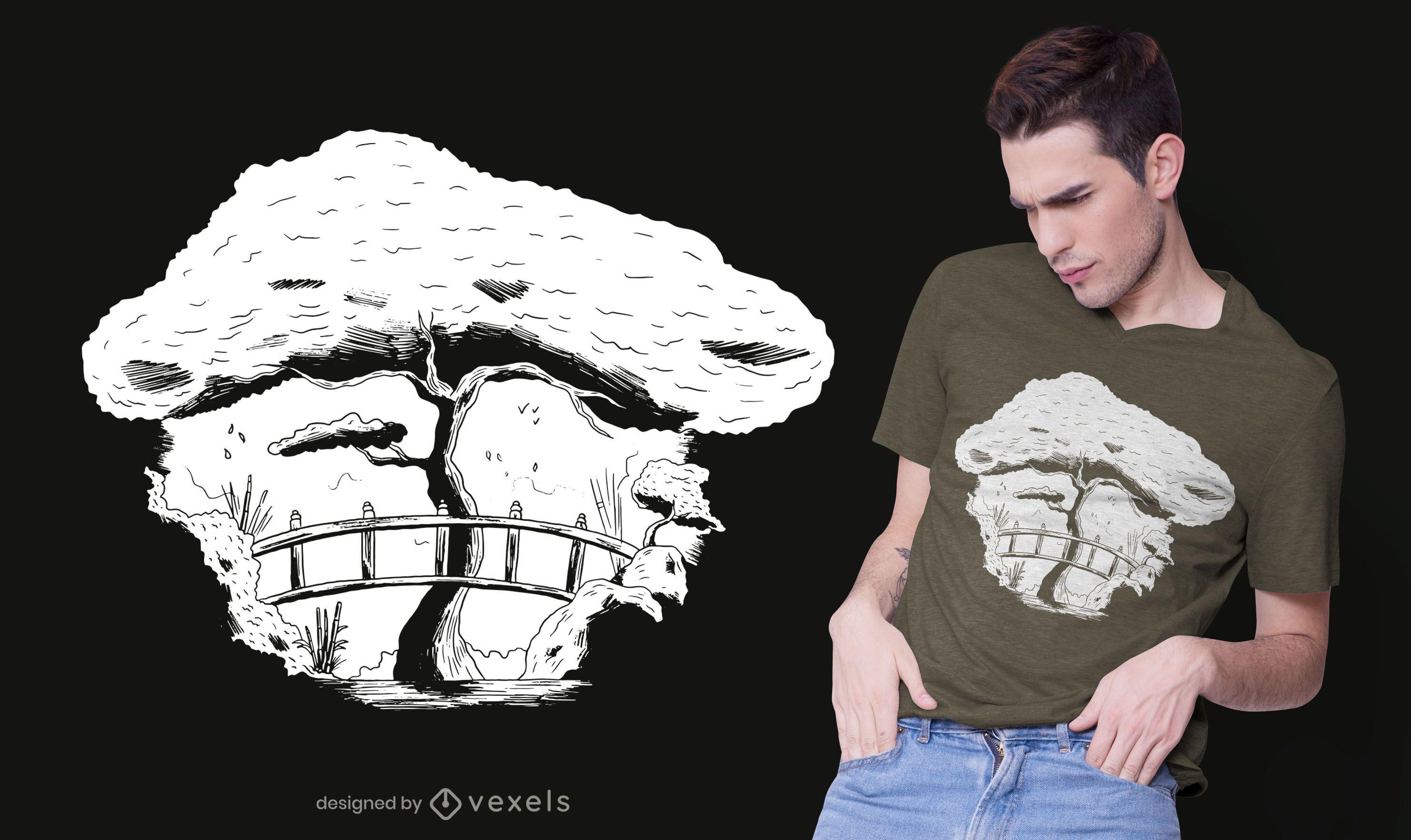 Diseño de camiseta de jardín japonés.