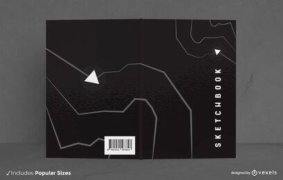 Diseño de portada de cuaderno de bocetos negro minimalista