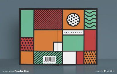 Design colorido abstrato da capa do caderno de desenho