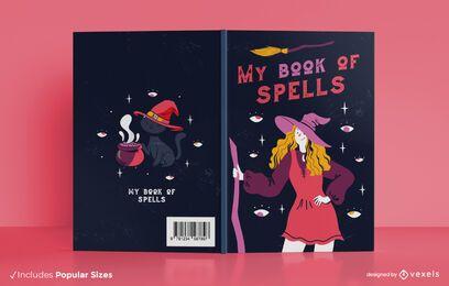 Diseño de portada de libro de libro de hechizos de bruja
