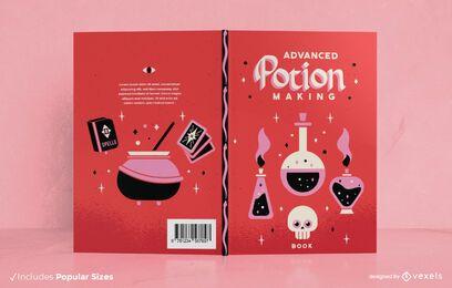 Diseño de portada de libro de hechizos para hacer pociones