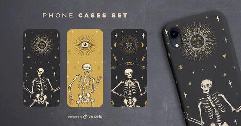 Conjunto de cajas de teléfono esqueleto de Halloween