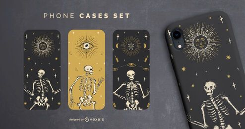 Halloween skeleton phone cases set