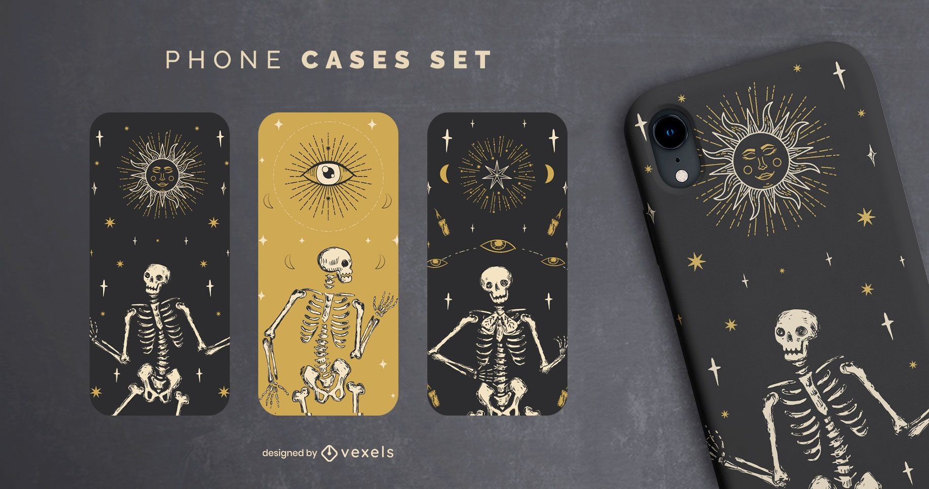 Conjunto de capas de telefone esqueleto de Halloween