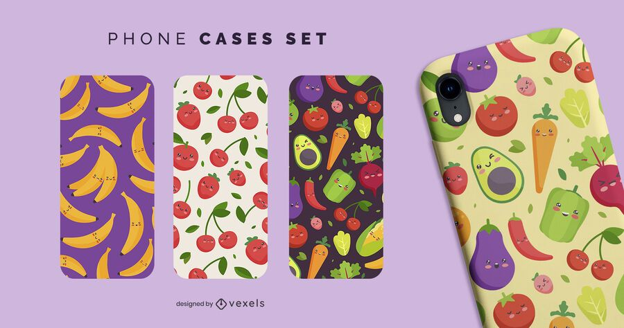 Kawaii fruits phone cases set