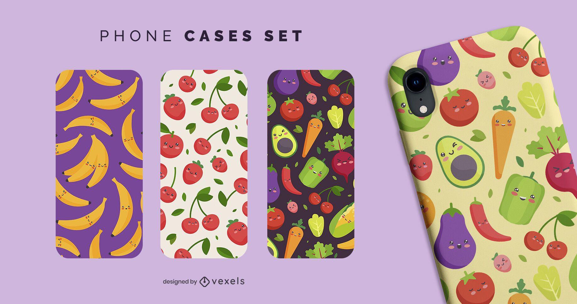 Kawaii fruits phone cases set