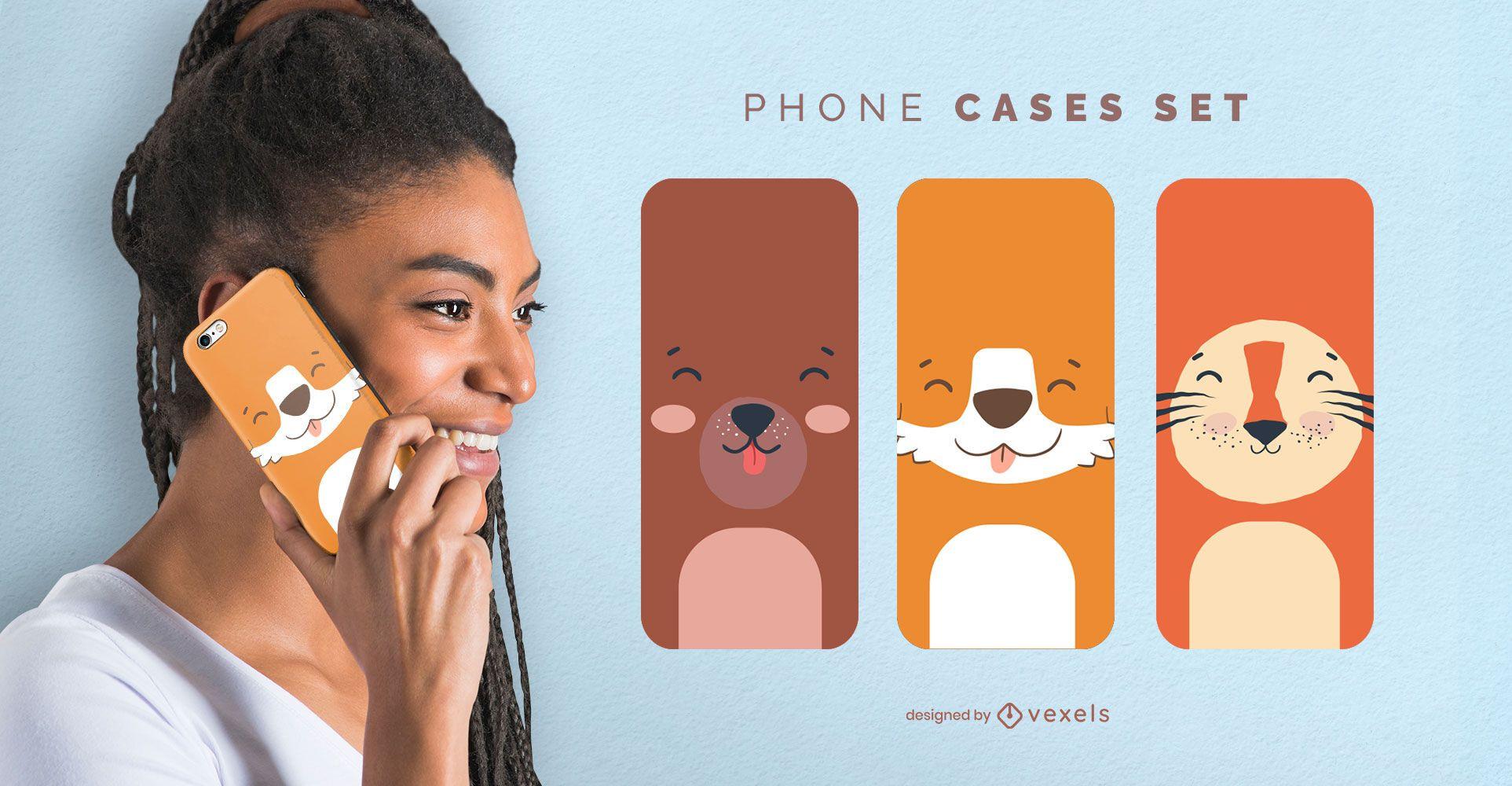 Conjunto de fundas de teléfono de animales lindos