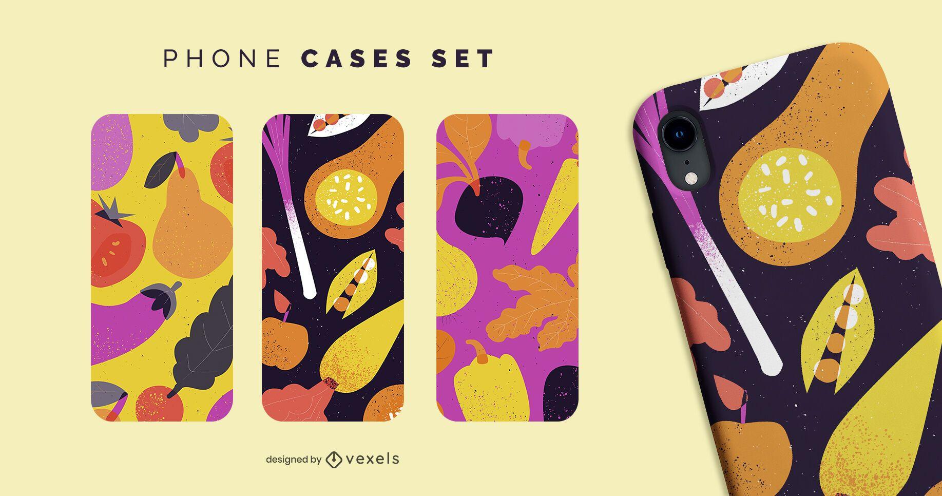 Conjunto de capas de telefone com vegetais coloridos