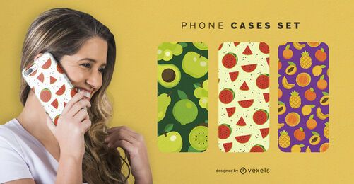 Fruits patterns phone cases set