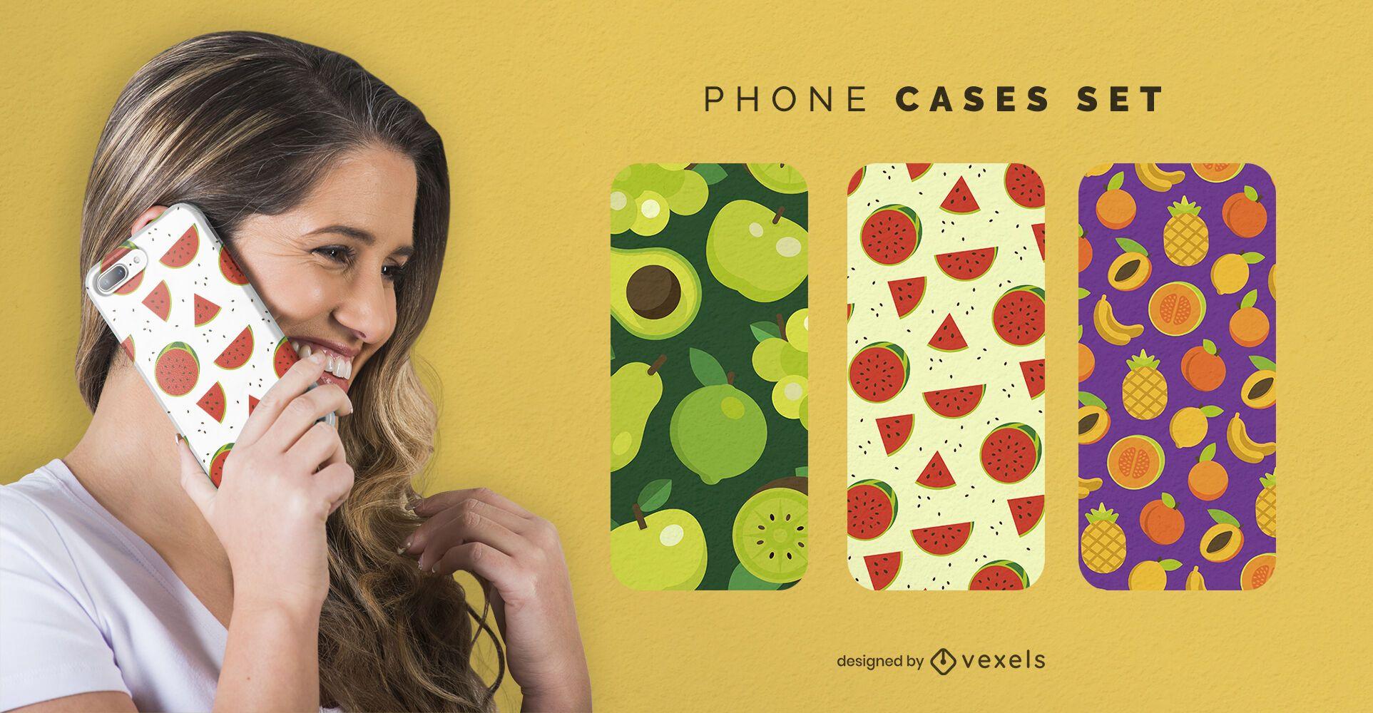 Conjunto de capas de telefone de padrões de frutas