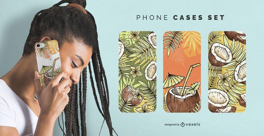 Conjunto de fundas de teléfono de coco