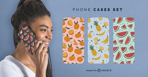 Conjunto de capas de telefone frutas