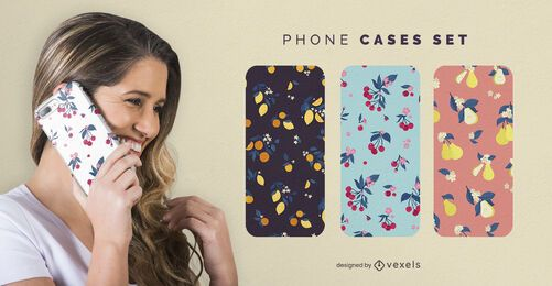 Floral fruits phone cases set