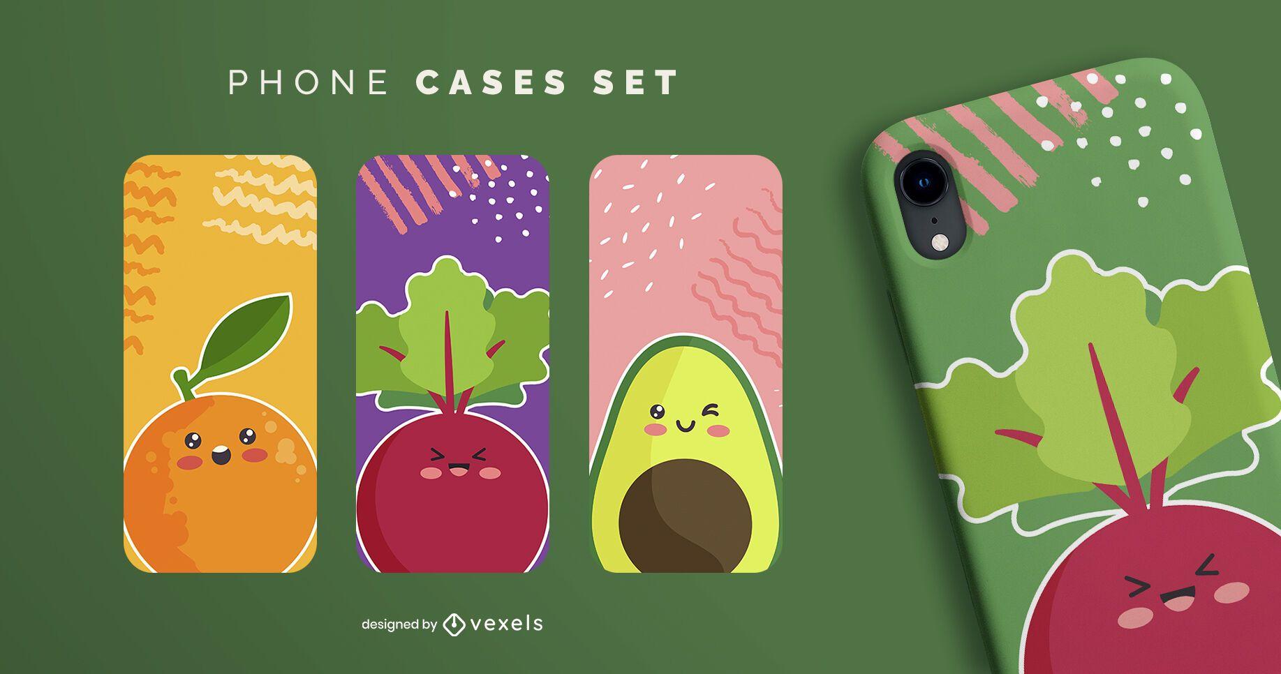 Set de fundas de móvil de comida kawaii