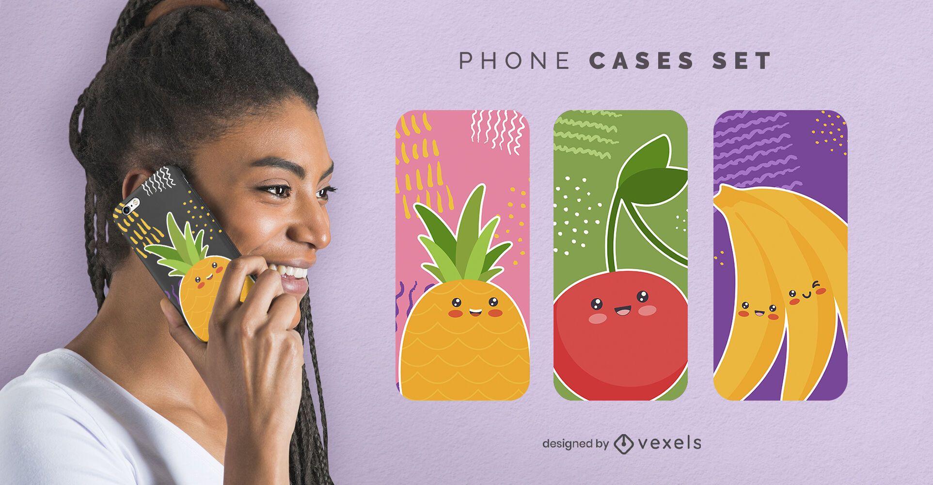 Conjunto de fundas de teléfono de frutas lindas