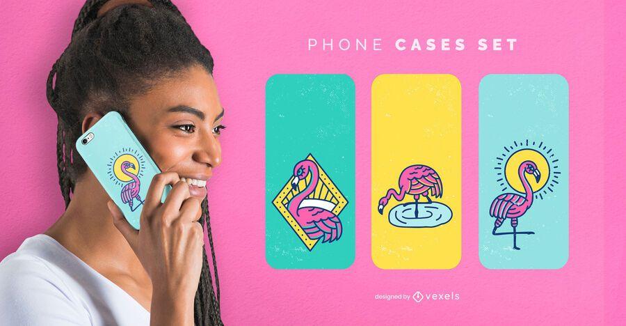 Conjunto de capas de telefone Flamingo