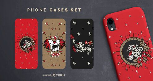 Vintage tigers phone cases set