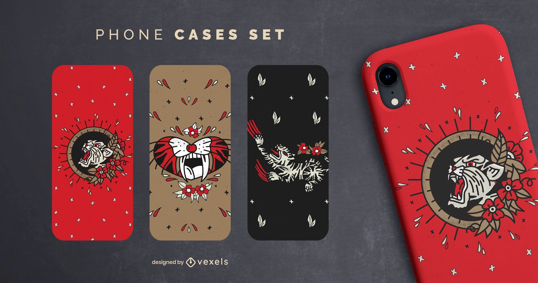 Vintage tigers phone cases set