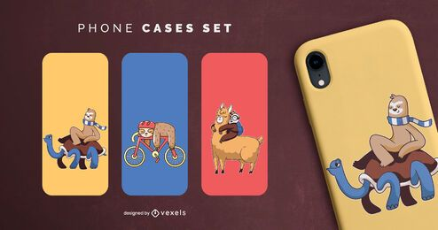 Sloth phone cases set